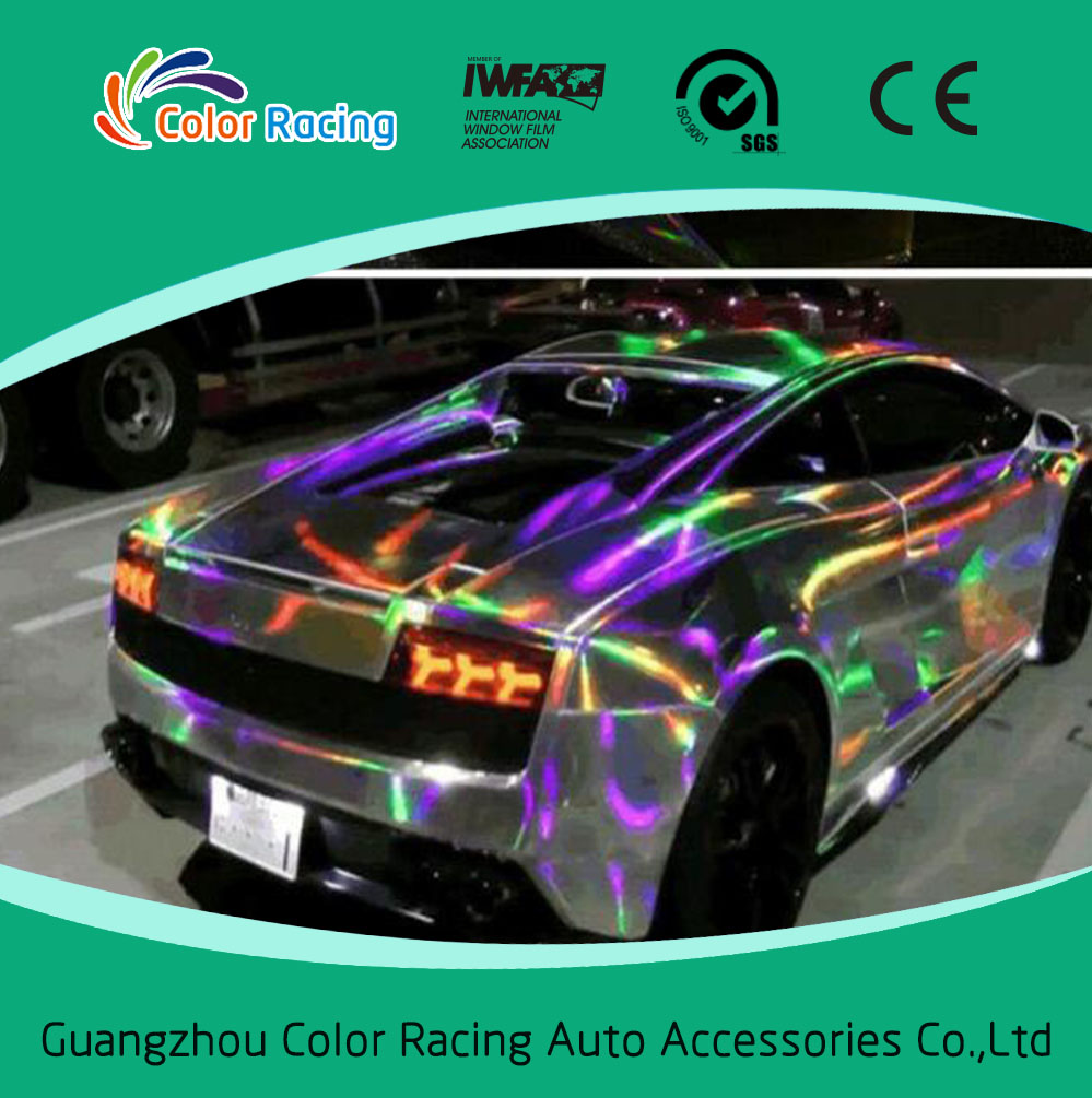 1 52x20m shiny laser chrome holographic rainbow vinyl for car whole